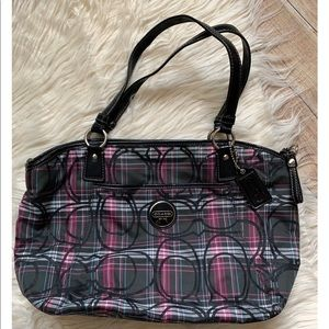 Authentic Coach Plaid Tote Bag Handbag Purse